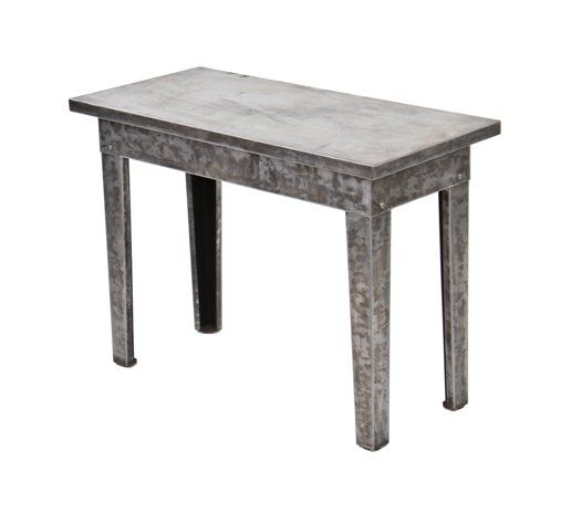 Fabulous Heavily Reinforced C 1920S Vintage Industrial Factory Office Low Lying Furniture Sheet Steel Side Table With Brushed Metal Finish Machost Co Dining Chair Design Ideas Machostcouk