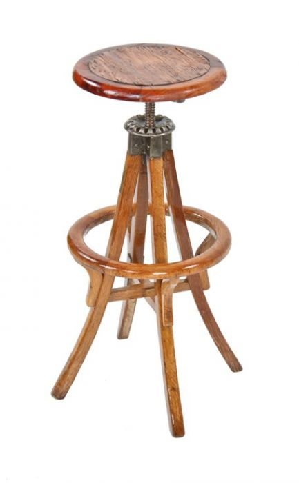 Amazing Outstanding Early 20Th Century American Industrial Refinished Mixed Wood Adjustable Height Drafting Stool With Revolving Seat Alphanode Cool Chair Designs And Ideas Alphanodeonline