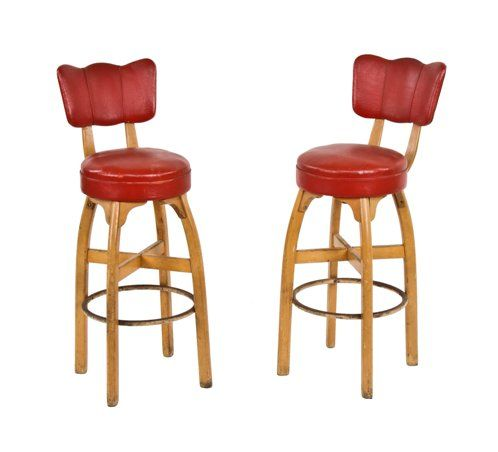 Groovy Pair Of Original Late 1940S American Blonde Wood Thonet Four Legged Stationary Bar Stools With Red Upholstered Seats And Backrests Cjindustries Chair Design For Home Cjindustriesco