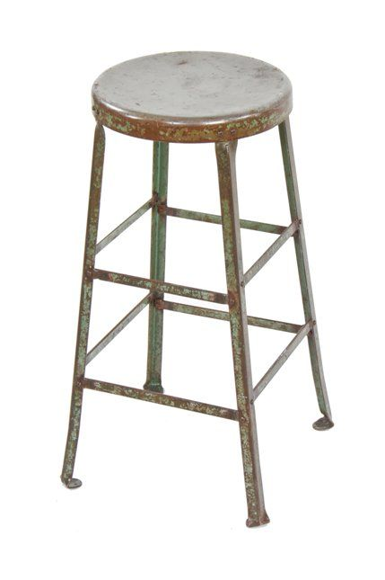 Peachy Original C 1930S American Made Vintage Industrial Riveted Joint Heavy Gauge Steel Factory Stool With Old Weathered Green Paint Lamtechconsult Wood Chair Design Ideas Lamtechconsultcom