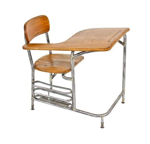 Magnificent Unique C 1940S Machine Age Streamlined Style Brushed Tubular Steel Stationary School Classroom Desk Chair With Maple Seat And Tablet Arm Uwap Interior Chair Design Uwaporg