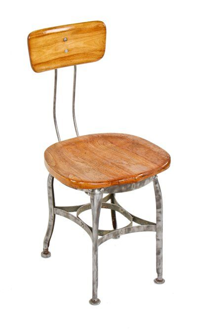 Rare Vintage American Western Union Office Morse Operator Uhl Art Steel Stationary Chair With Original Backrest