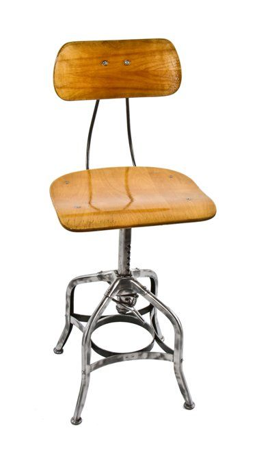 Brilliant Late 1930S Original Uhl Art Steel American Industrial Adjustable Height Brushed Steel Toledo Stool With Matching Saddle Seat And Backrest Caraccident5 Cool Chair Designs And Ideas Caraccident5Info