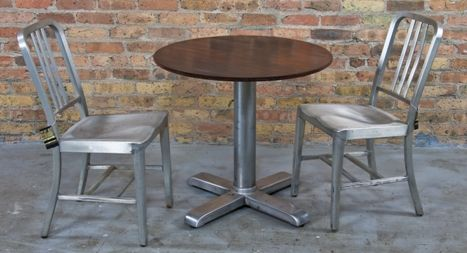 Highly Desirable Vintage American Interior Commercial Airport Repurposed Goodform Cafe Or Pub Style Table With Brushed Aluminum Base