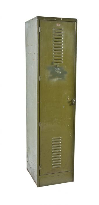 Unusually Large Early 1920 S Vintage American Industrial Olive Green Enameled Single Freestanding Locker With Fully Functional Louvered Door