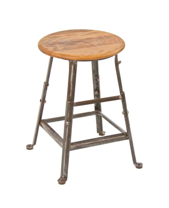 Incredible C 1920S American Industrial Adjustable Height Welded Joint Four Legged Factory Workbench Stool With Intact Circular Shaped Oak Wood Seat Pdpeps Interior Chair Design Pdpepsorg
