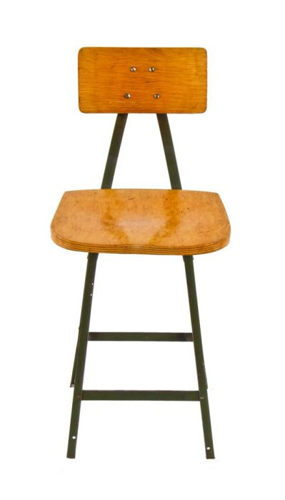 Remarkable Original C 1950S American Vintage Industrial Pollard Green Enameled Factory Workbench Angled Iron Stool With Oversized Saddle Seat Evergreenethics Interior Chair Design Evergreenethicsorg