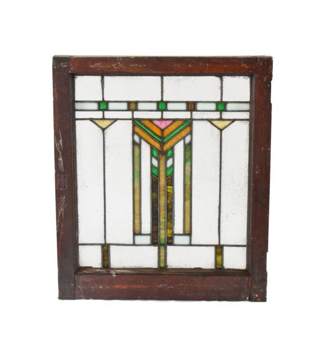 Original And Intact Early 20th Century American Chicago Prairie Style Leaded Art Gl Residential Window With Chevron Motif