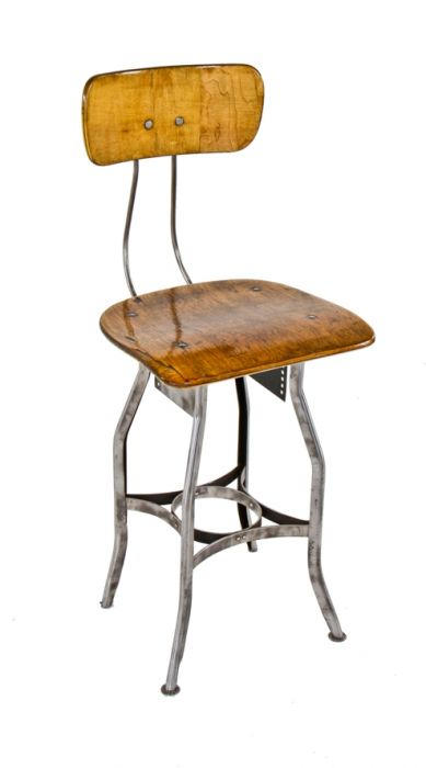 Fine Adjustable Height American Antique Industrial Uhl Art Steel Four Legged Pressed And Die Formed Toledo Workbench Factory Stool With Refinished Saddle Evergreenethics Interior Chair Design Evergreenethicsorg