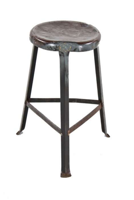 Prime Original C 1940S Weathered And Worn American Industrial Angled Steel Three Legged Factory Machine Shop Stool With All Welded Joint Bracing Cjindustries Chair Design For Home Cjindustriesco