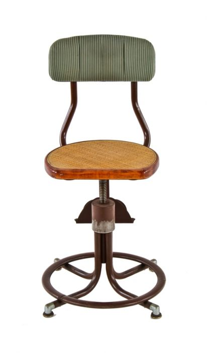 All Original C 1940 S American Vintage Industrial Adjustable Height Telephone Switchboard Operator Revolving Seat Stool With Pleated Backrest