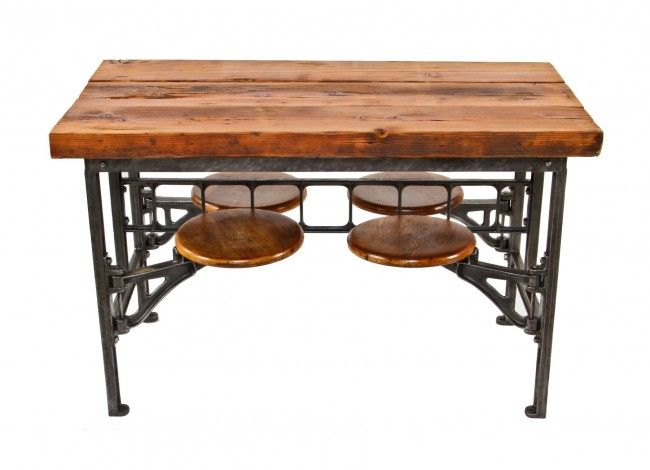 Orginal Fully Functional Early 20th Century Antique American Industrial Brushed Cast Iron Four Swing Out Seat Factory Lunchroom Table With Newly Added