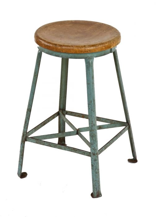 Astounding Vintage American Industrial Angled Steel Four Legged Light Blue Enameled United States Postal Office Stool With Maple Wood Seat Inzonedesignstudio Interior Chair Design Inzonedesignstudiocom