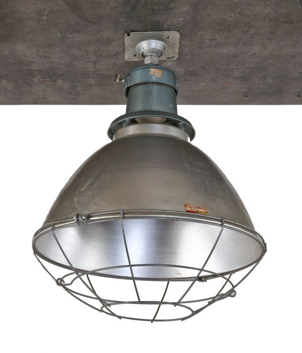 Single Original Oversized C 1950 S American Chicago Public School Gymnasium Deep Bowl Pendant Light With Protective Cage