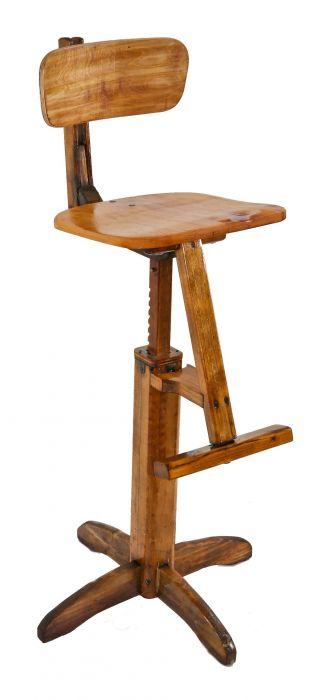Terrific Unique Odd Original C 1930S Patented American Vintage Industrial Refinished Adjustable Height Hardwood Four Legged Stool With Projecting Footrest Ibusinesslaw Wood Chair Design Ideas Ibusinesslaworg
