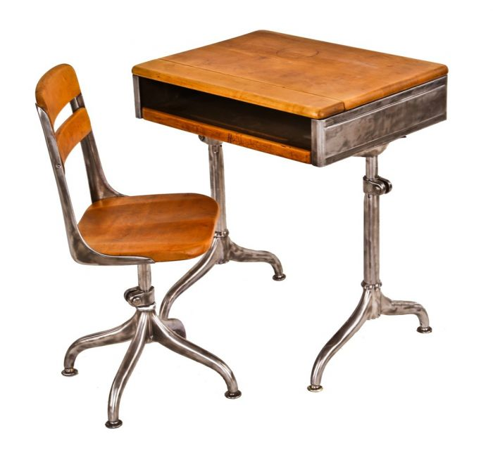 completely refinished c. 1940\'s vintage american industrial adjustable  height school classroom desk with matching diminutive four-legged chair