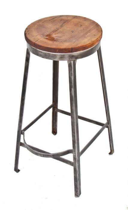 Terrific Refinished American Depression Era Industrial Factory Machine Shop Four Legged Stool With Wood Top And Protruding Footrest Ibusinesslaw Wood Chair Design Ideas Ibusinesslaworg