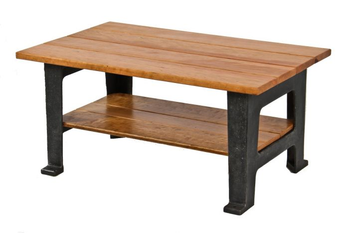 Well Built American Low Lying Repurposed Solid Cherry Wood Coffee Table Supported By Reinforced Antique Cast Iron Arbor Press Bases