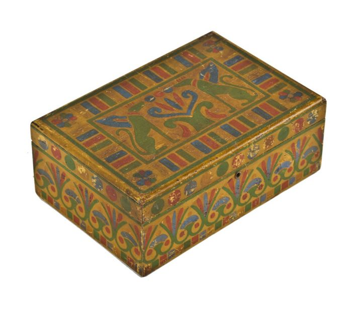 Cool Visually Distinctive C 1920S American Art Deco Egyptian Revival Style Hand Painted Folk Art Diminutive Wooden Box With Hinged Top Short Links Chair Design For Home Short Linksinfo
