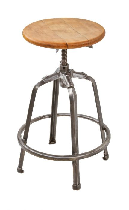 Awe Inspiring Fully Adjustable Four Legged Stationary Riveted And Welded Joint Stool With A Brushed And Sanded Bare Metal Finish And Original Solid Maple Wood Ibusinesslaw Wood Chair Design Ideas Ibusinesslaworg