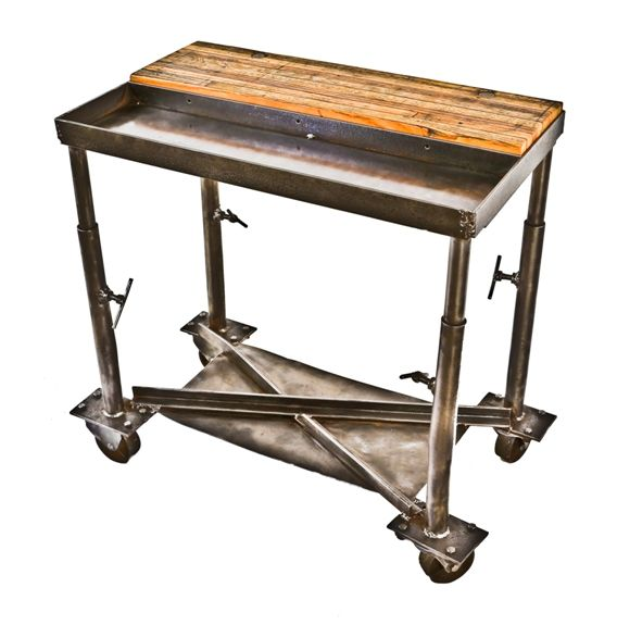 Unique Well Constructed Depression Era American Antique Industrial Mobile  Chicago Factory Work Table Or Cart With ...