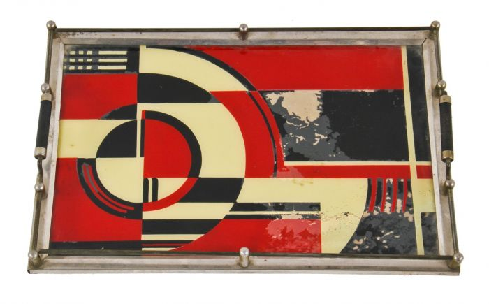 All Original And Largely Intact Iconic C 1930 S American Art Deco Jazz Age Polychromatic Cocktail Tray With Reverse Painted Glass Featuring A
