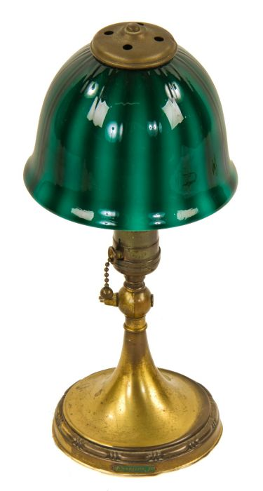 Original And Fully Functional Diminutive Early 20th Century Factory Office Emeralite Jr Articulating Desk Lamp With Striking Emerald Green Cased