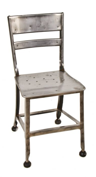 Refinished American Depression Era Uhl Art Steel Pressed And Folded Furniture Sheet Metal School Or Administration Office Four Legged Chair With