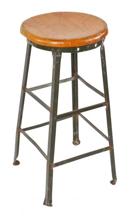 Phenomenal All Original C 1930S Depression Era Antique American Industrial Olive Green Enameled Factory Machinist Four Legged Stool With Original Solid Maple Ibusinesslaw Wood Chair Design Ideas Ibusinesslaworg