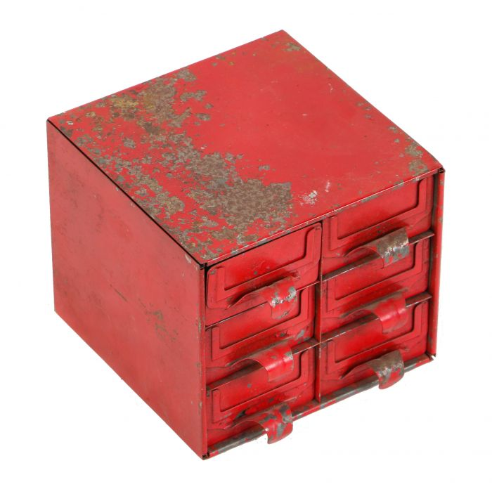 Strange Old Red Painted C 1930S Diminutive Six Drawer Pressed And Folded Steel Workbench Storage Cabinet With Label Slots And Original Finger Pulls Beatyapartments Chair Design Images Beatyapartmentscom