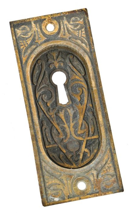 OLD BRASS PLATED STAMPED METAL DOOR PLATES...BACKPLATE ESCUTCHEONS...ORNATE
