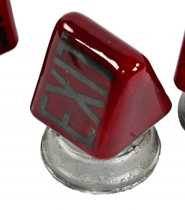 single american depression era ruby red glass double-sided illuminated  wedge-shaped exit light wall sconce with spun steel shade fitter and socket