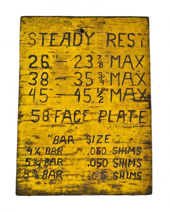 c  1930's american antique industrial finkl foundry machine shop  hand-painted wood metal lathe wall-mount chart with a nicely distressed  surface