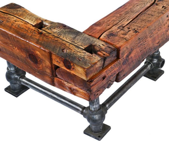 Sensational Repurposed American Industrial L Shaped Stationary Sitting Bench Comprised Of Solid Yellow Pine Wood Residential Mortise And Tenon Sill Plate Beams Machost Co Dining Chair Design Ideas Machostcouk