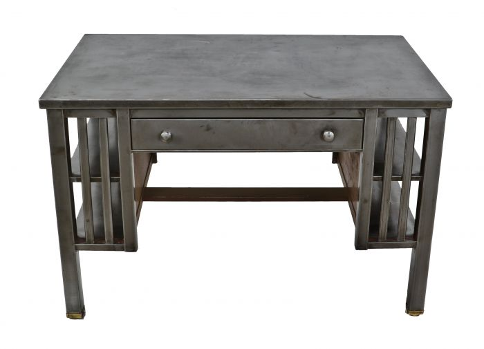 Remarkable Highly Sought After C 1930S American Antique Industrial Thoroughly Refinished Simmons Double Sided Library Table Or Desk With Matching Pull Out Download Free Architecture Designs Scobabritishbridgeorg