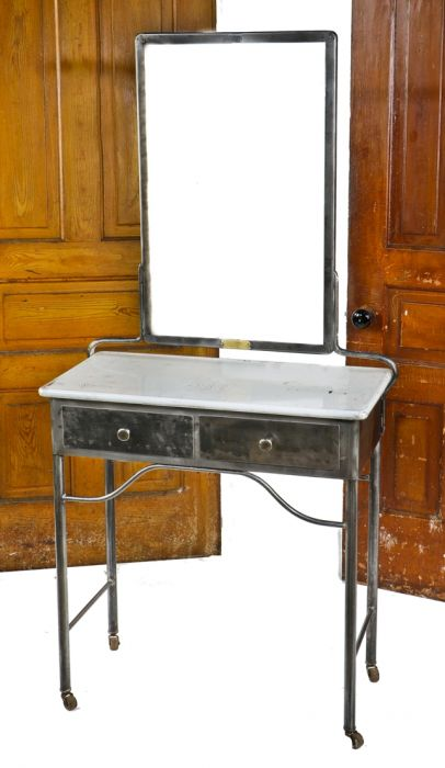 Completely Refinished C 1920 S Antique American Hospital Examination Room Medical Workstation With Intact Mirror And Two