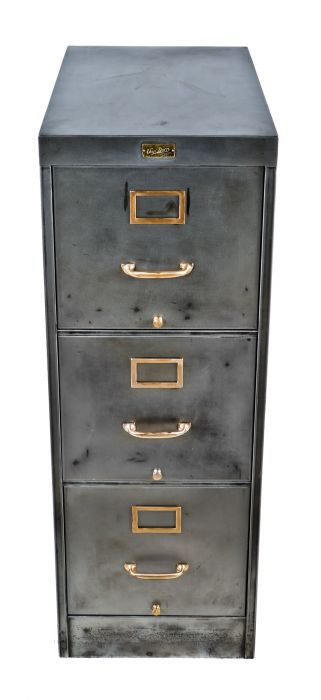 robust early 20th century freestanding compartmentalized parisian novelty  celluloid button company factory office filing cabinet with brushed metal