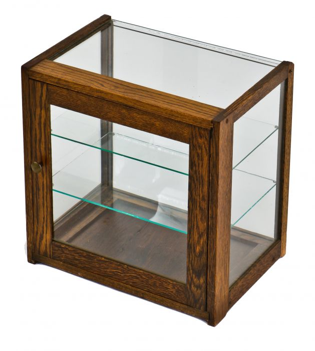Early 20th Century Diminutive Original And Intact Varnished Oak Wood Clean Compact Countertop Display Cabinet