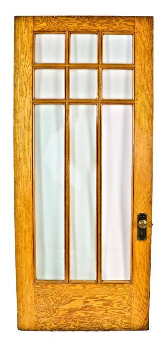 1915 Original Antique American Interior Residential Chicago Mission Style  Vestibule Golden Oak Wood Door With ...