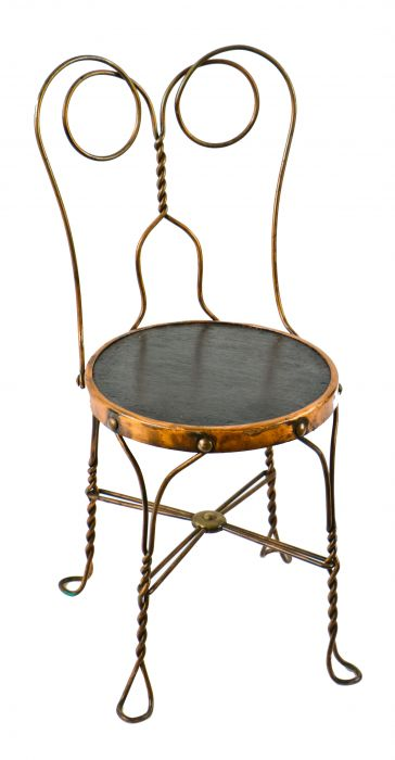 Sensational Single All Original And Intact Turn Of The Century Antique American Copper Plated Reinforced Fanciful Iron Four Legged Soda Fountain Stool Chair With Caraccident5 Cool Chair Designs And Ideas Caraccident5Info