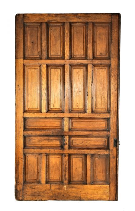 1880u0027s Gargantuan Salvaged Chicago Raised Panel Nine By Five Foot Single  Sliding Pocket Door With Largely Intact Varnished Business