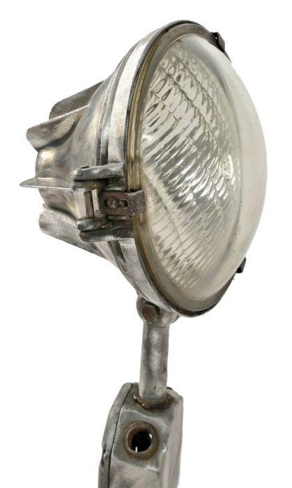 Original C 1950 S Vintage American Steber Brushed Aluminum Service Station Lamppost Flood Light With Versatile Head Lamp And Gl Lens