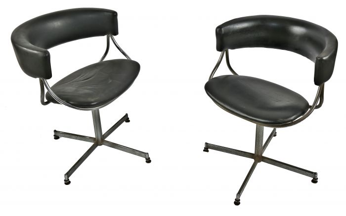 Super Pair Of Jansko Stationary Mid Century Modern Interior Residential Swivel Chairs Upholstered In Soft Black Faux Leather With Interesting Backrest Caraccident5 Cool Chair Designs And Ideas Caraccident5Info