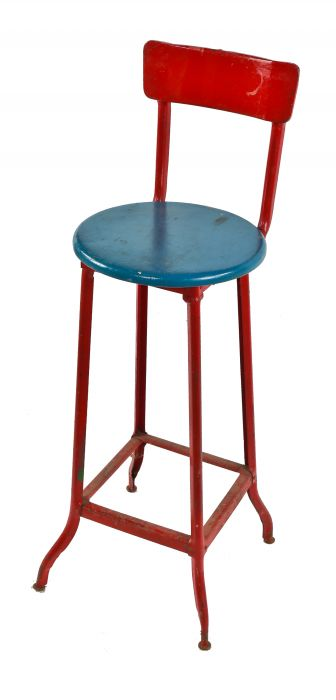 original 1920\'s antique american made industrial pressed and folded steel  factory stool with maple wood seat and brightly painted finish