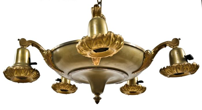 Nicely Aged American Depression Era Five Arm Interior Residential Ceiling Light Pan Fixture With Acorn Finial And Intact Decorative Socket Covers