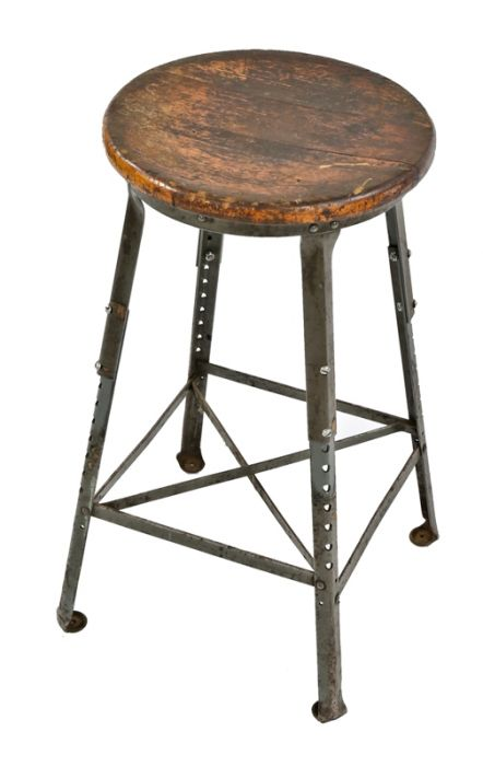 Admirable Fully Adjustable American Industrial Riveted Joint Angled Steel Chicago Factory Stool Or Chair With Original Solid Maple Wood Seat Lamtechconsult Wood Chair Design Ideas Lamtechconsultcom