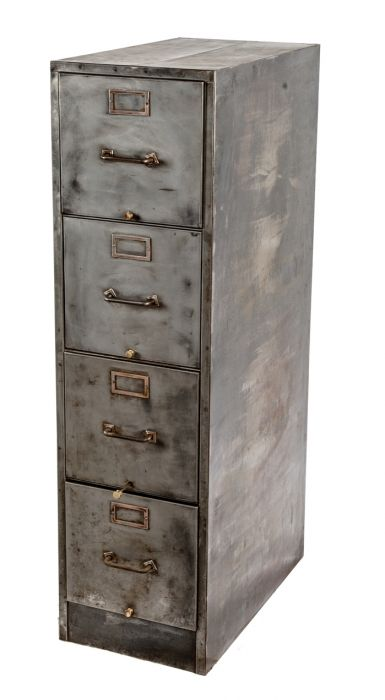 Refinished C. 1940u0027s Vintage American Industrial Pressed And Folded Steel  Four Drawer Filing Cabinet With Brushed ...