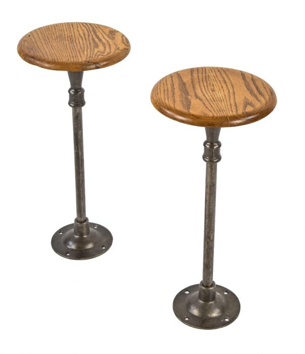 Superb Two Original Freestanding Antique American Matching Drake Hotel Soda Fountain Swivel Seat Stools With Intact Oak Wood Seats And Brushed Cast Iron Alphanode Cool Chair Designs And Ideas Alphanodeonline