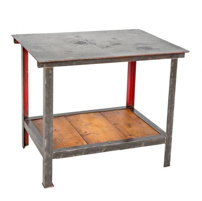 repurposed old industrial welded joint vintage american machine shop  brushed metal table or kitchen island with old pine wood undershelf
