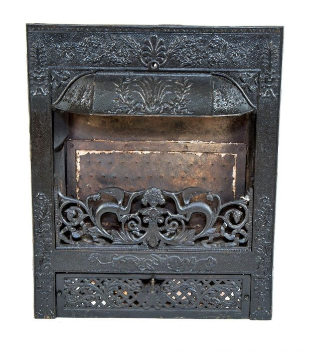 Marvelous Exceptional Antique American Dawson Brothers Interior Residential Ornamental Cast Iron Salvaged Chicago Fireplace Insert With Mostly Uniform Black Download Free Architecture Designs Pushbritishbridgeorg